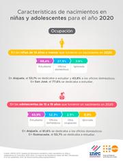 Características de nacimientos en niñas y adolescentes Ocupación 2020